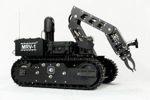 black robot on white seamless backdrop, crane arm extended, product detail photo