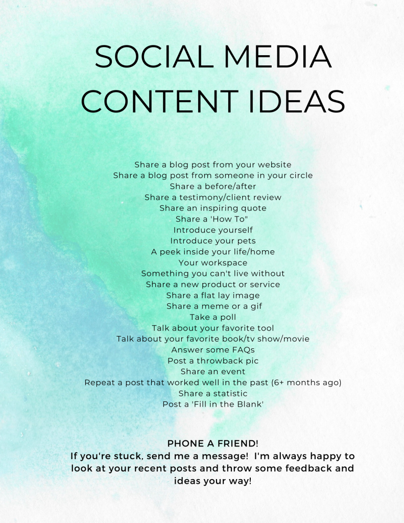 social media content ideas graphic