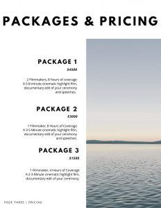 wedding video pricing template