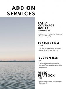 wedding videographer pricing template