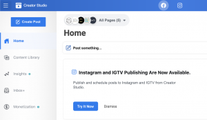 Facebook Creator Studio Dashboard