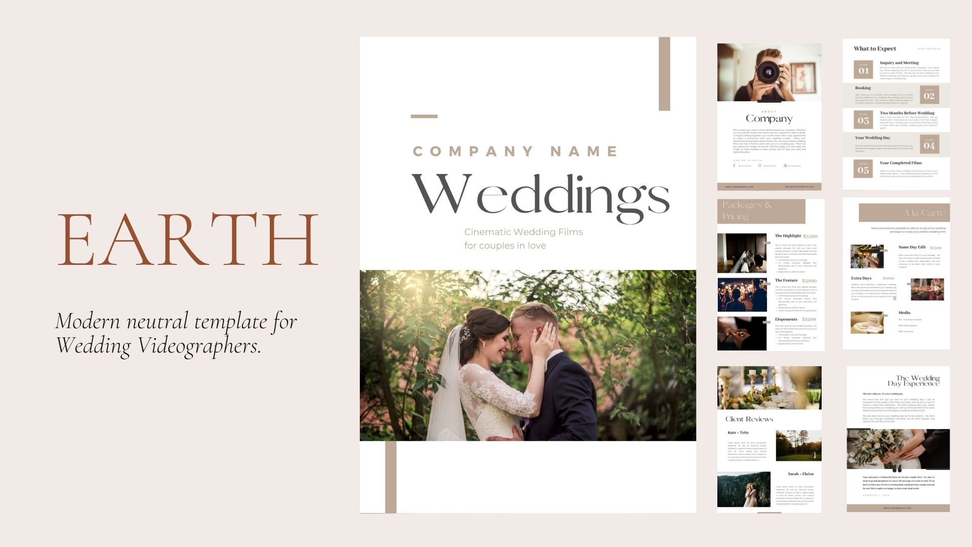 EARTH | Modern & Neutral Marketing Template for Wedding Videographers