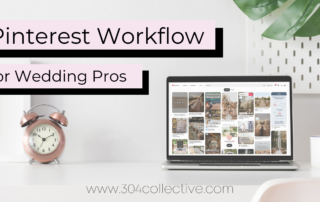pinterest workflow for video pros text beside a laptop open to pinterest on a white desk