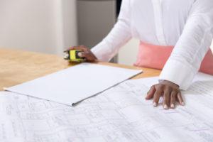 realtor branding photos, close up of blueprints