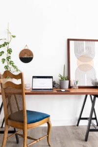 a clean and modern desk set up in a natural light studio