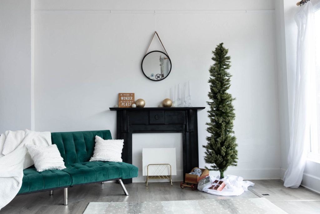 a simple holiday set in a natural light photography studio